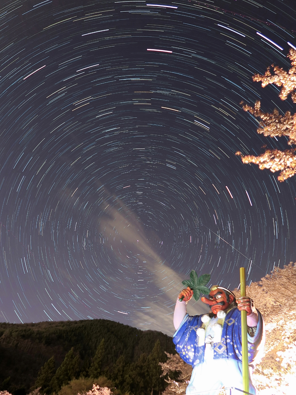 長野県千曲市戸倉宿キティパーク天狗春星空夜桜