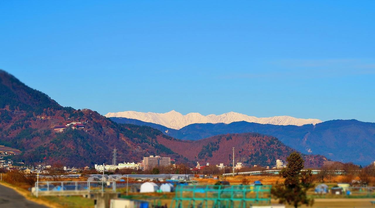 長野県千曲市戸倉上山田温泉冬景色北アルプス坂城町昭和橋