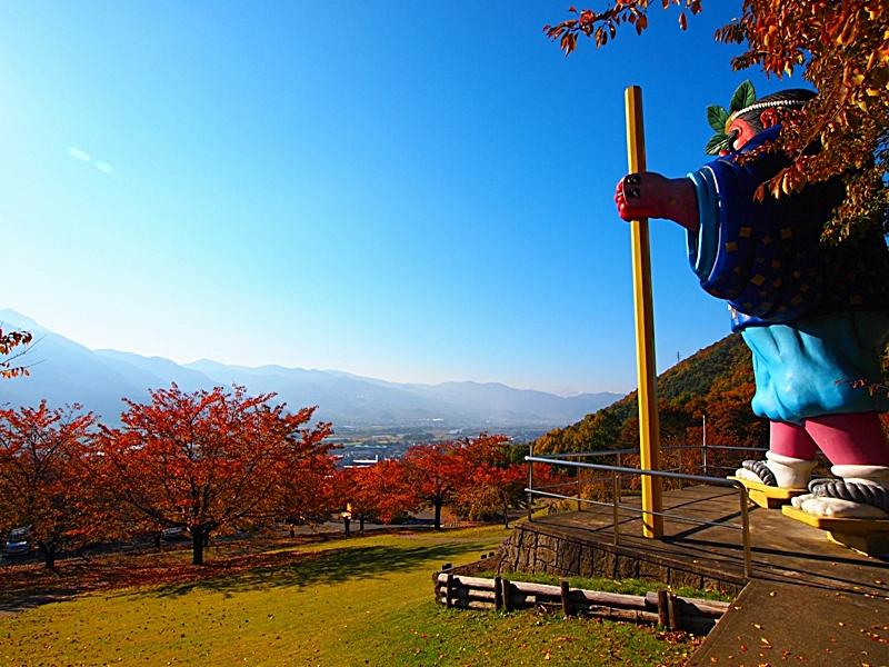 長野県紅葉狩りスポット千曲市戸倉宿キティパーク天狗